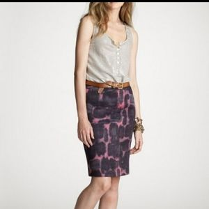 J.Crew Linen Blend Ink Blossom Pencil Skirt 4